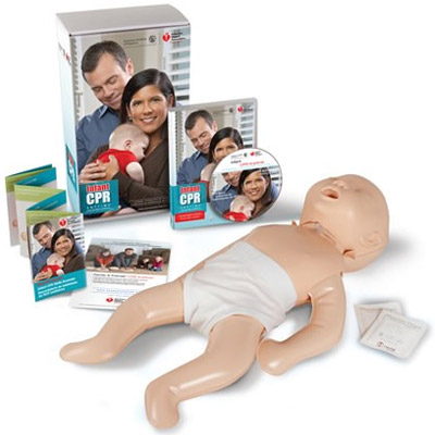 "Infant CPR Anytime is an ""all-in-one"" learning kit that teaches the basic skills of Infant CPR, Infant choking relief and calling for help in approximately 20 minutes. Infant CPR Anytime allows users to learn these life-saving skills anywhere, either in the comfort of their own home or in large group settings. The kit teaches CPR using the AHA's research-proven ""practice-while-watching"" technique, which allows users to watch an instructional DVD while practicing their skills on a personal manikin. Infant CPR Anytime is designed to be shared with close family members and friends to help extend lifesaving training to more people. Because more lives can be saved…. Product Specifications: The Infant CPR Anytime kit includes the following: · 1 bilingual (English/Spanish) Infant CPR Anytime DVD · 1 poly-bagged Mini Baby® CPR personal manikin · 1 bilingual (English/Spanish) Infant CPR Anytime skills reminder card · 1 Mini Baby replacement lung · Manikin wipes"