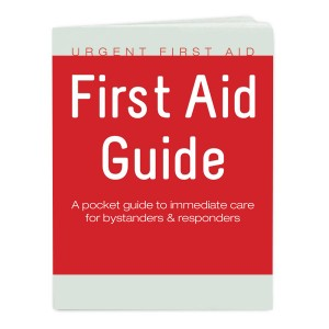The 48 Page, Full Color American CPR Training™ / American Environmental Health & Safety™ First-Aid Guide published by Urgent First Aid™ is a fast-and-easy reference to help lay responders assisting others that become suddenly ill or injured. © 2013