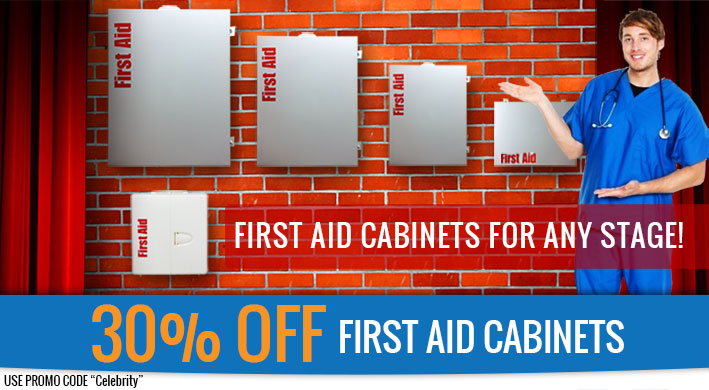 "No matter what stage your business is at, you can give your tired old First Aid Kit a Grand Finale and step into the footlights with the debut of a fully-stocked and easy to refill OSHA & ANSI Compliant First Aid Cabinet ideal for your needs! While you're at it, at 30% off our already deep-discounted prices, why not get another First Aid Station as a cool addition to your Garage or Workshop at home? Save Lives and $ave Money!  All First Aid Cabinets are an extra 30% off for One Week (Use code ""CELEBRITY"" at Checkout)"