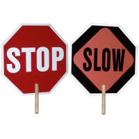 Hand Held Stop Sign for traffic control  2 Sided with Slow SIgn on reverse