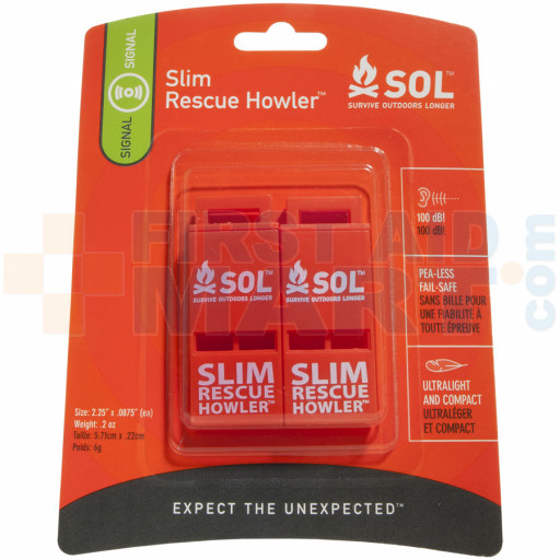 The Survive Outdoors Longer® SLIM Rescue Howler™ Whistle comes 2 to a Pack
