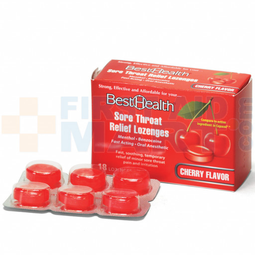 Sore Throat Lozenges Cherry/Menthol, 18/Bx, 17818