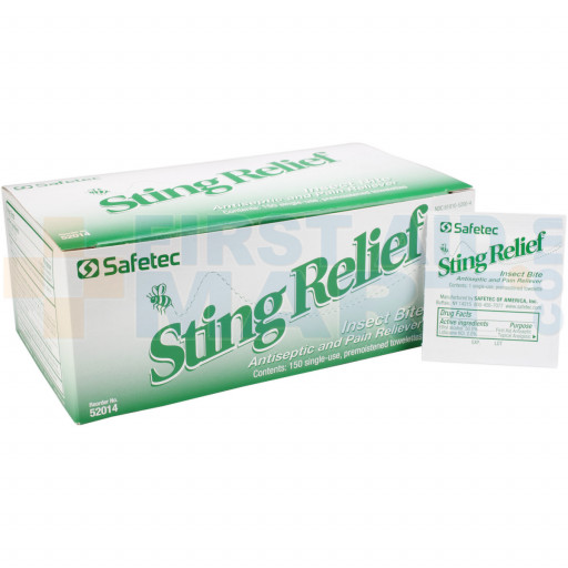 Box of Sting Relief Wipes with single unopened wipe in front.