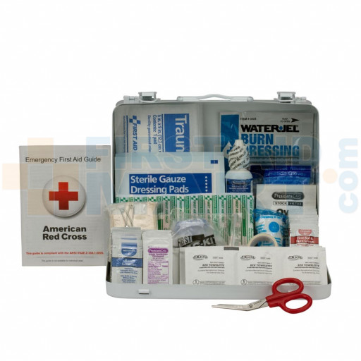 25 Person First Aid Kit, ANSI A,  Metal Case - 90560