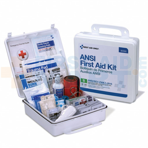 50 Person First Aid Kit, ANSI B, Plastic Case, Weatherproof - 90566