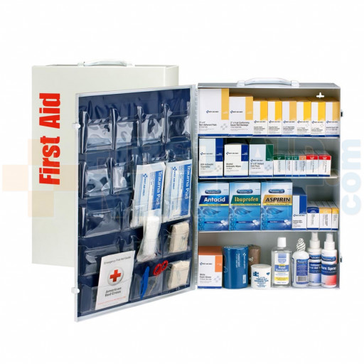 4 Shelf First Aid ANSI B+ Metal Cabinet, with Meds - 90576