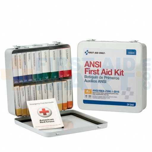 24 Unit First Aid Kit, ANSI A+,  Metal Case - 90600