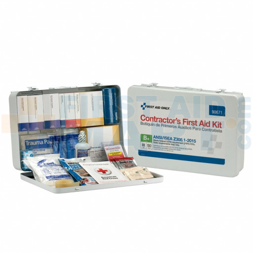 50 Person Contractor ANSI B+ First Aid Kit, Metal Case  - 90671