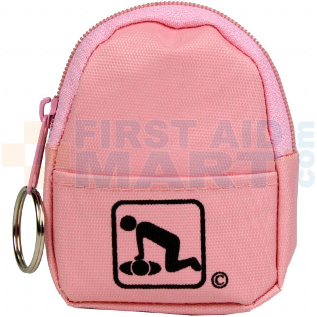 CPR Pink BeltLoop/KeyChain BackPack: Shield-Gloves-Wipe - 911CPR-HPK