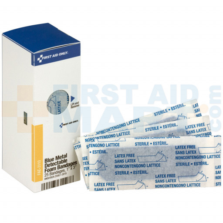 1 inch x 3 inch Metal Detectable Blue Bandage, Foam, 25 each - SmartTab EzRefill - FAE-3110