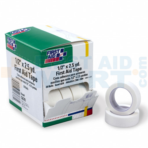 First Aid Tape - 1/2 inch x 2.5 yard - 20 Per Box - G678