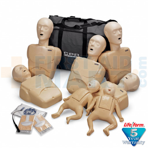 CPR Prompt 7-Pack Manikins - 5 Adult/Child / Pediatric & 2 Infant / Baby - Tan - LF06702U