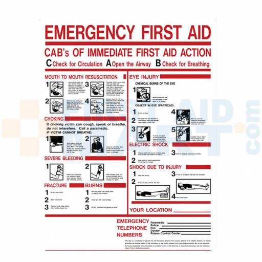 "First Aid Sign - ""ABC's of First Aid"" - Plastic - M5045"