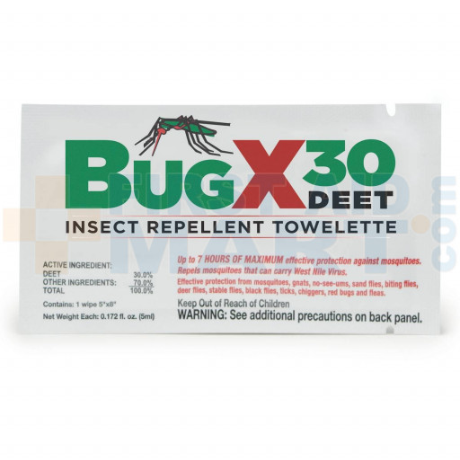 Insect Repellant Towelette, 30% DEET - 1 Each - M5076-BUGX