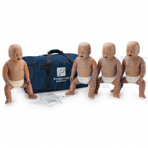 Prestan Infant / Baby CPR Manikin w/ Monitor - 4 Pack - Dark Skin - PP-IM-400M-DS
