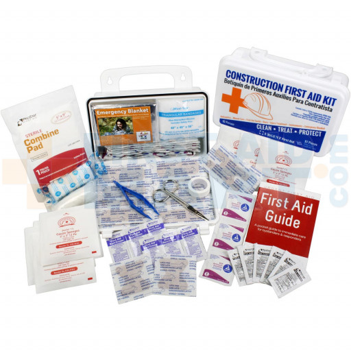 Bilingual OSHA Contractors First Aid Kit for Job Sites up to 10 People – Gasketed Plastic, 97 pieces, URG-3660