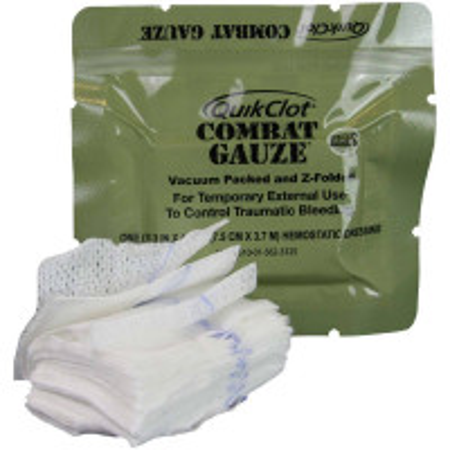 QuikClot Combat Gauze, Z-Fold, Military, 200