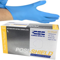 Nitrile Gloves, Posi-Shield, Large, Blue, 100 Per Box, 2450PF