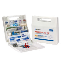 50 Person First Aid Kit, ANSI A, Plastic Case with Dividers - 90597