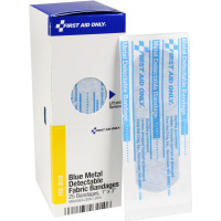 1 inch x 3 inch Visible Blue Metal Detectable Bandages, 25 each - SmartTab EzRefill - FAE-3010