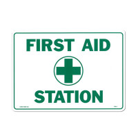 "First Aid Sign - ""First Aid Station"" - Plastic - M5046"