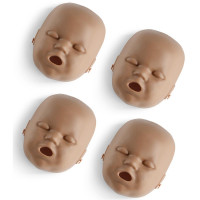 Face skin replacements for the PRESTAN Professional Infant Manikin, 4-Pack, Dark Skin, RPP-IFACE-4-DS