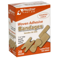 Assorted Woven Adhesive Bandages, 20 per Box, 2537