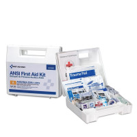 25 Person First Aid Kit, ANSI A, Plastic Case with Dividers - 90588