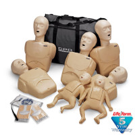 CPR Prompt 7-Pack Manikins - 5 Adult/Child / Pediatric & 2 Infant / Baby - Tan - LF06702U