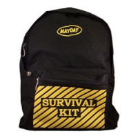 "Black Backpack w/ ""Survival Kit"" Imprint - ST44"