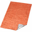 Vacuum-metalized polyethylene, that reflects 90% of your body heat - and its high-visibility orange exterior makes it easy for rescuers to find you