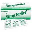 Box of Sting Relief Wipes with three single unopened wipe in front.