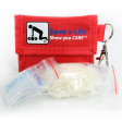 This kit includes1 pair of medical grade vinyl gloves, 1 cpr breathing barrier, and 1 nylon puch with key ring and clasp