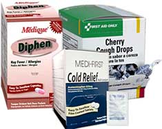 Image of diphen for allergies, cough drops and cold relief tablets.