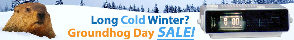 Image of punxsutawney phil and big title reading: Long cold winter. Groundhog day sale