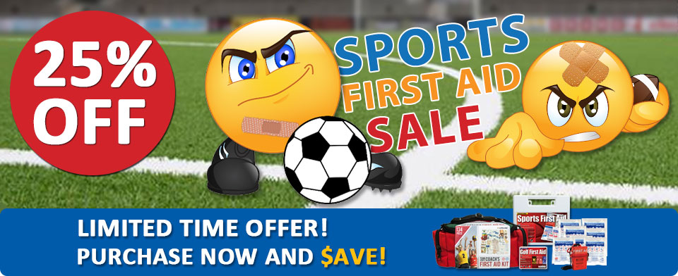 Graphical image reading: 25 percent off sports first aid and medicine products. Limited time offer! Purchase now and save. Image also displays silhouettes of a variety of different sports athletes in action.