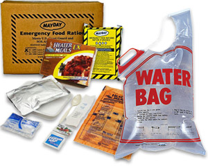 Image of emergency water bag, emergency food ration and mini water packs