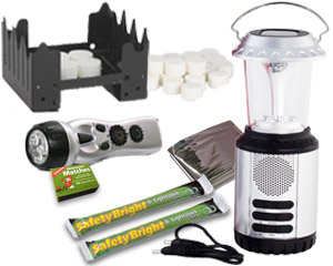 Image of mini stove, candles, matches, glow sticks and flashlights