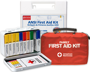 Image of ANSI first aid kit, family first aid kit and opened red cross unitized first aid kit revealing color coded unitized first aid products.