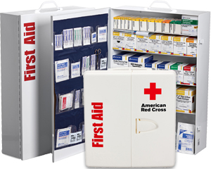 Image of metal 4 shelf first aid cabinet and closed plastic American Red Cross first aid cabinet.