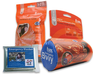 Image of SOL Bivvy sleeping back and an emergency blanket.