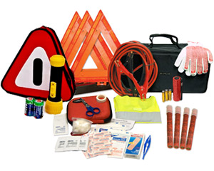 Image of roadside emergency kit, flares, utility gloves, and jumper cables