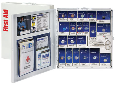 Image of arge Metal SmartCompliance Cabinet, ANSI A+ with Meds, 202 Pieces, 50 Person Kit