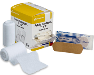 Graphic displaying case of 1 inch by 3 inc fabric bandages and 2 inch by 4 yard roller gauze bandage