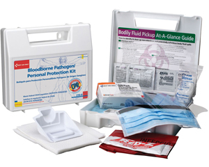 Graphic of opened bloodborne pathogen personal protection kit, case, revealing bodily fluid pickup and personal protection products