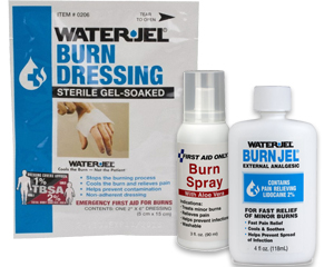 Graphic of water jel burn dressing, first aid burn spray and burn jel representing physical burn treatment.