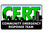 Image of the CERT (Community Emergecy Response Team) Logo in an ebroidered PAtch (to siginify that First Aid Mart Carries a full line of C.E.R.T.Gear)