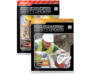 Image displaying cal osha state of California general industry and electrical safety orders booklets.