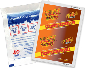 Graphic of instant cold compression pack and body warmer representing first aid for swelling as well as cold weather preparedness & pain relief.