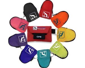 Image displaying assortment of different colored pocket sized cpr kit key chains